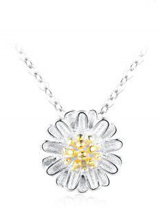Sterling Silver Floral Collarbone Necklace - Silver