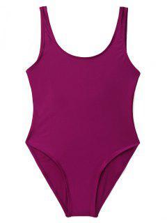 Low Back Shiny One Piece Swimwear - Purplish Red Xl