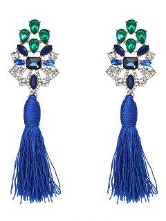 Vintage Rhinestone Faux Crystal Tassel Earrings - Blue