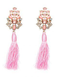 Vintage Rhinestone Faux Crystal Tassel Earrings - Pink