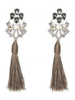 Vintage Rhinestone Faux Crystal Tassel Earrings - Gray