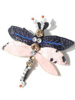 Rhinestones Dragonfly Brooch - Pink