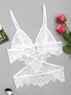 Cami Crossover Lace Bralette - White Xl
