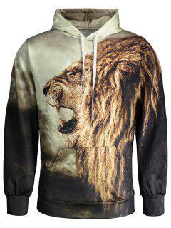 Lion Print Hoodie - L