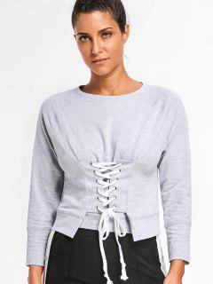 Front Lace Up Pullover Sweatshirt - Light Gray S