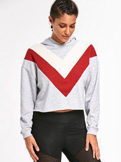 Color Block Tunic Cropped Hoodie - Gray S