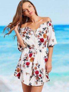 Floral Off Shoulder Beach Romper - Blanc L