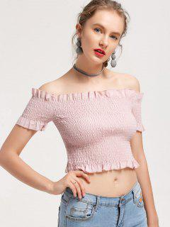 Smocked Ruffled Off Shoulder Top - Pink S