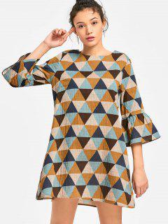 Flare Sleeve Geometric Print Trapeze Dress - Multi S