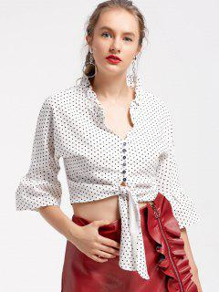Bow Tied Cropped Polka Dot Blouse - White And Black L