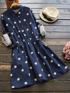 Side Pockets Polka Dot Flare Dress - Deep Blue