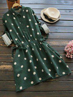 Side Pockets Polka Dot Flare Dress - Blackish Green