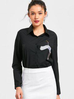 Chemise à Lacets Applique à Oiseaux - Noir