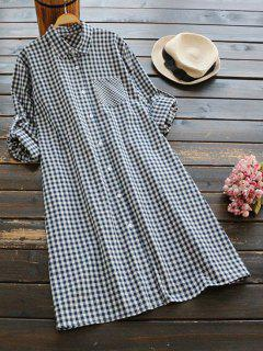 Button Up Checked Pocket Shirt Dress - Purplish Blue
