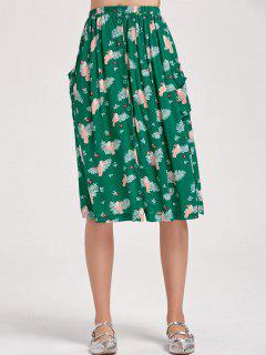 Button Up Bird A Line Midi Skirt - Green L