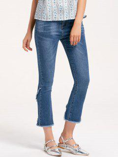 Frayed Slit Boot Cut Jeans - Denim Blue M