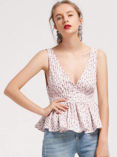 T-shirt à Rayures Florales Ruffles Stripes - Blanc S
