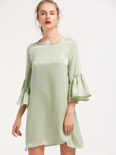 Flouncy Sleeve Mini Shift Dress - Light Green S