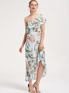Floral Overlap One Shoulder Maxi Dress - Floral M