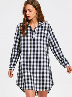 Long Sleeve Checked Casual Shirt Dress - Checked M