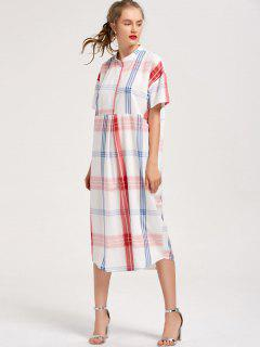 Checked Shift Casual Midi Kleid - Kariert S
