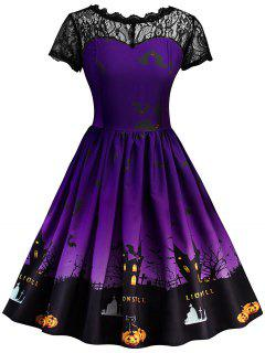 Halloween Vintage Lace Insert Pin Up Dress - Purple M
