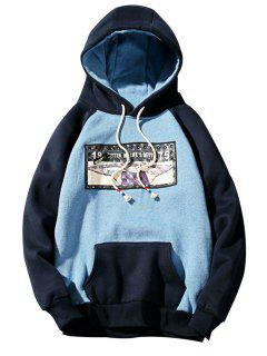 3D Figure Print Applique Zipper Fleece Hoodie - Sky Blue 2xl