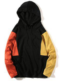 Color Block Panel Drop Shoulder Pullover Hoodie - Mandarin L