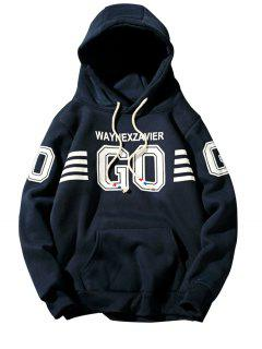 Hooded Graphic Stripe Print Fleece Pullover Hoodie - Cadetblue M