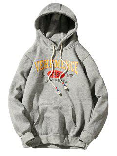 Hooded Graphic Print Fleece Pullover Hoodie - Deep Gray L