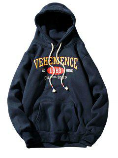 Hooded Graphic Print Fleece Pullover Hoodie - Cadetblue M