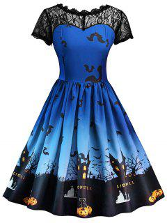 Halloween Vintage Lace Insert Pin Up Dress - Royal Blue L