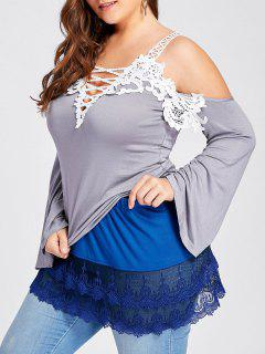 Plus Size Tiered Sheer Lace Extender Skirt - Blue Xl