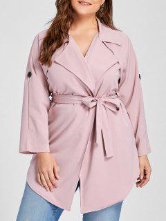 Plus Size Lapel Wrap Trench Coat - Pink 3xl