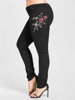 Plus Size Blossom Embroidered High Waist Jeans - Black