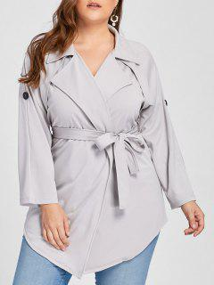 Plus Size Lapel Wrap Trench Coat - Gray Xl