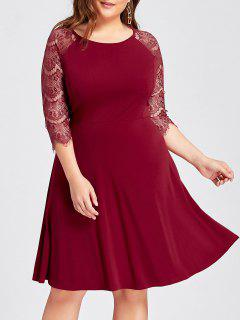 Plus Size Lace Openwork Skater Party Dress - Red 4xl