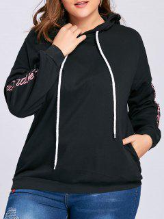 Plus Size Drop Shoulder Floral Letter Embroidered Hoodie - Black 3xl