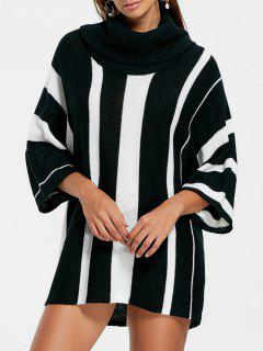 Vertical Striped Turtleneck Sweater - Black Stripe M