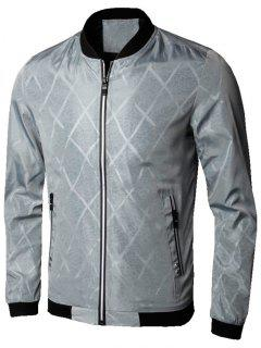 Zip Up Diamond Bomber Jacket - Gray Xl