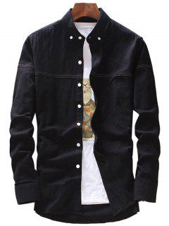 Casual Button Down Shirt - Black Xl
