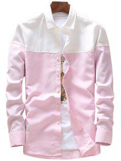 Camiseta Casual De Manga Larga De Dos Tonos - Rosado Xl