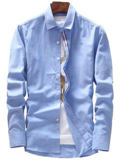 Covered Button Stripe Embroidery Shirt - Azure Xl