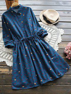 Robe A Line Taille à Cordon à Motif - Bleu Foncé
