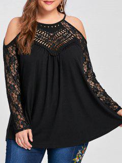 Plus Size Lace Trim Cold Shoulder Top - Black 4xl