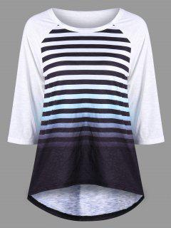 Striped Raglan Sleeve Ombre Top - Black White Xl