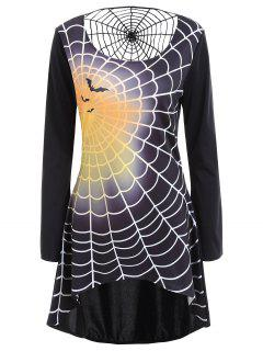 Robe T-Shirt à Manches Longues Imprimé Toile D'Araignée D'Halloween - Noir 2xl