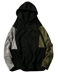 Color Block Panel Drop Shoulder Sudadera Con Capucha - Verde Salvia M