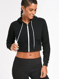 Front Pockets Cropped Zip Up Hoodie - Black L