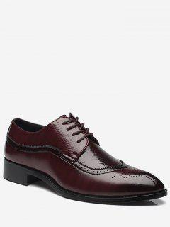 Embossing Pointed Toe Formal Shoes - Brown 43